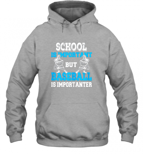 t26j school is important but baseball is importanter boys hoodie 23 front sport grey