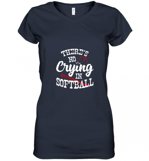 xx0v theres no crying in softball game sports baseball lover women v neck t shirt 39 front navy