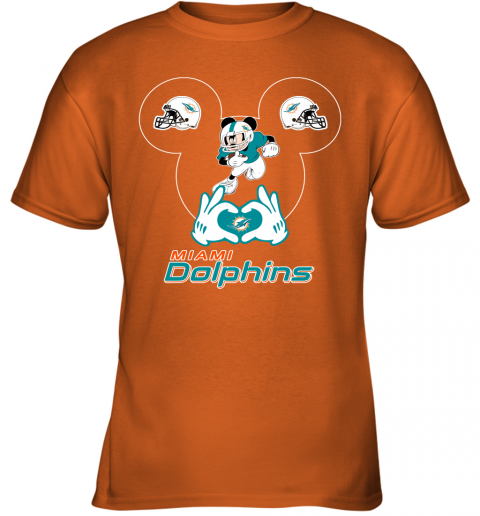 rovl i love the dolphins mickey mouse miami dolphins youth t shirt 26 front safety orange