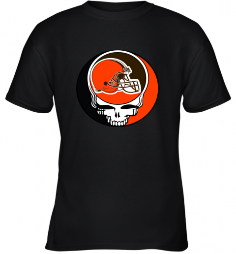 mo2t nfl team cleveland browns x grateful dead logo band youth t shirt 26 front black