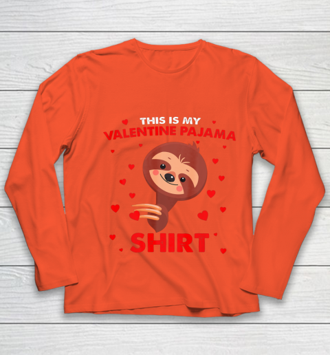 Sloth This Is My Valentine Pajama Shirt Valentines Day Youth Long Sleeve 3