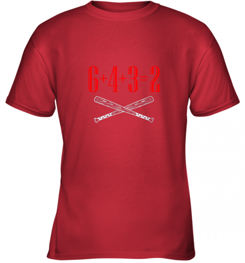 thrj funny baseball math 6 plus 4 plus 3 equals 2 double play youth t shirt 26 front red