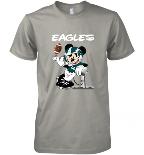 yz1k mickey eagles taking the super bowl trophy football premium guys tee 5 front light grey