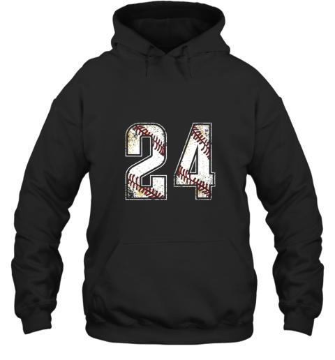 #24 Baseball Jersey Number 24 Vintage Retro Birthday Gift Hoodie