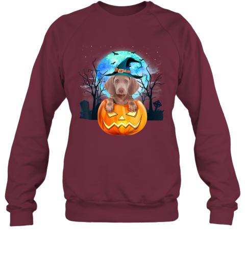 Weimaraner Dog Witch Hat Halloween Pumpkin Gift Sweatshirt