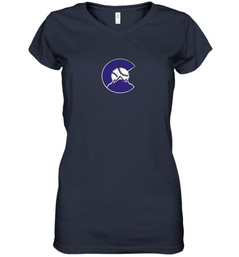 3xkc colorado rocky mountain baseball sports team women v neck t shirt 39 front navy