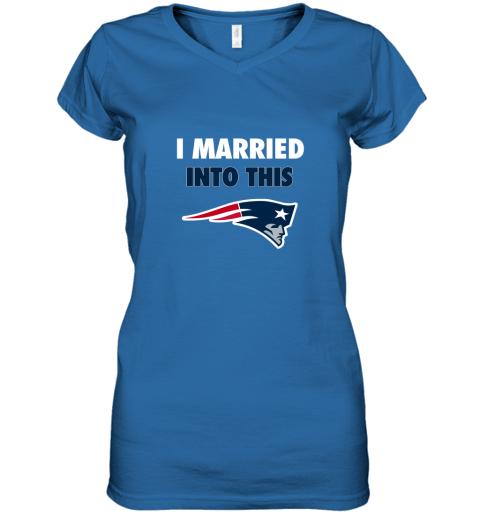xgdu i married into this new england patriots football nfl women v neck t shirt 39 front royal