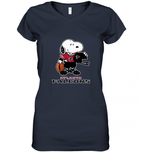 Snoopy A Strong And Proud Atlanta Falcons Player NFL Women's V-Neck T-Shirt