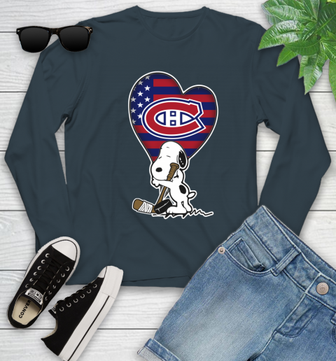 Montreal Canadiens NHL Hockey The Peanuts Movie Adorable Snoopy Youth Long Sleeve 8