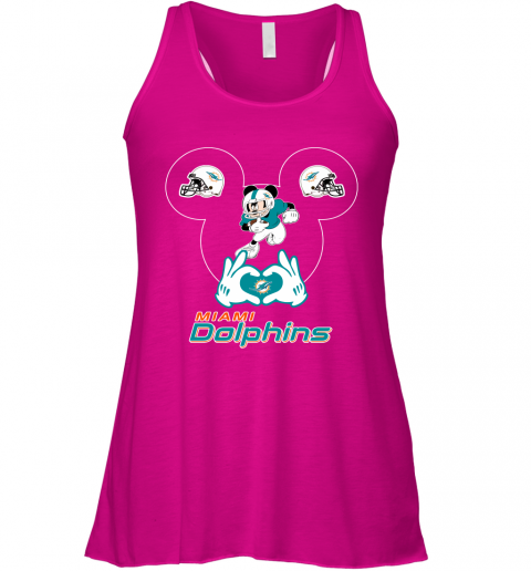 a2sk i love the dolphins mickey mouse miami dolphins flowy tank 32 front neon pink