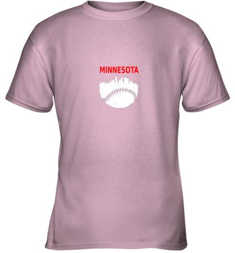 x98r retro minnesota baseball minneapolis cityscape vintage shirt youth t shirt 26 front light pink