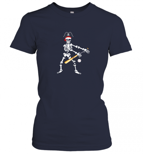 wjwc skeleton pirate floss dance with baseball shirt halloween ladies t shirt 20 front navy