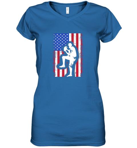 8j68 vintage usa american flag baseball player team gift women v neck t shirt 39 front royal