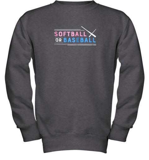 jlj7 softball or baseball shirt sports gender reveal youth sweatshirt 47 front dark heather