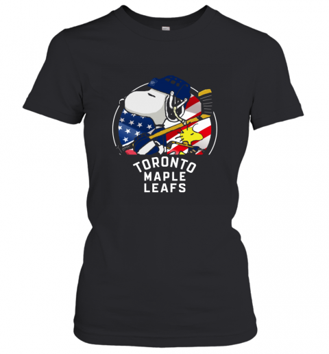 Toronto Mapples Leafs  Snoopy And Woodstock NHL Women's T-Shirt