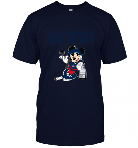 yq8k mickey columbus blue jackets with the stanley cup hockey nhl jersey t shirt 60 front navy