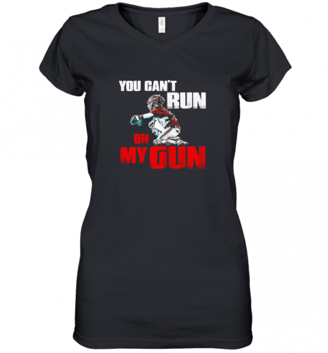 You Cant Run On My Gun Shirt Baseball Women's V-Neck T-Shirt