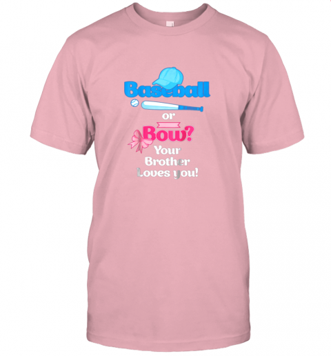 rjnw kids baseball or bows gender reveal shirt your brother loves you jersey t shirt 60 front pink