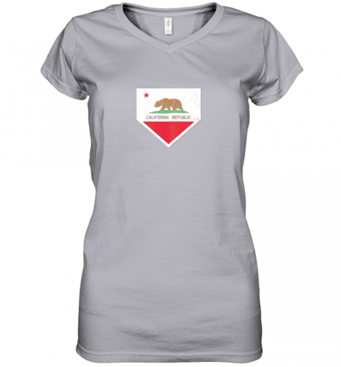oyo0 vintage baseball home plate with california state flag women v neck t shirt 39 front sport grey