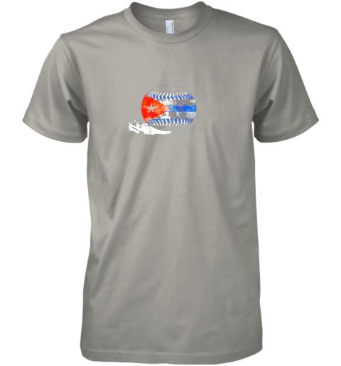 pqup vintage baseball cuba flag shirt cuban pride premium guys tee 5 front light grey