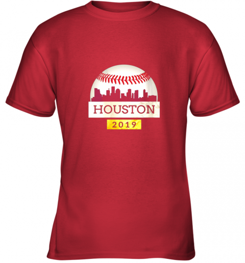 qxlf houston baseball shirt 2019 astro skyline on giant ball youth t shirt 26 front red