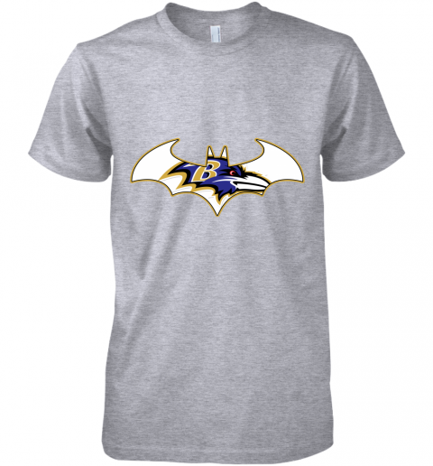 pdry we are the baltimore ravens batman nfl mashup premium guys tee 5 front heather grey