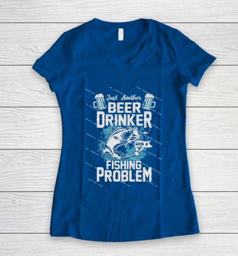 Beer Lover Funny Shirt Fishing ANd Beer Women's V-Neck T-Shirt 7