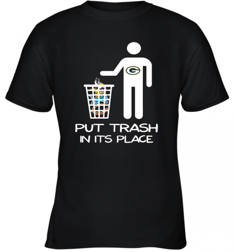 Green Bay Packers Put Trash In Its Place Funny NFL Youth T-Shirt