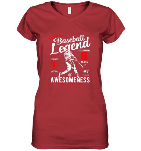 ulvx kids 8th birthday gift baseball legend 8 years women v neck t shirt 39 front red