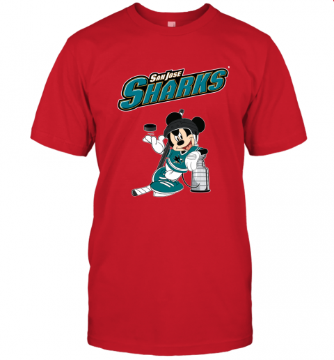 9uru mickey san jose sharks with the stanley cup hockey nhl jersey t shirt 60 front red