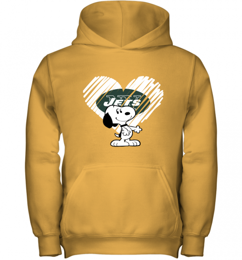 lvum i love new york jets snoopy in my heart nfl youth hoodie 43 front gold