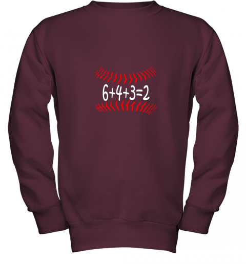 px1n funny baseball 6432 double play shirt i gift 6 4 32 math youth sweatshirt 47 front maroon