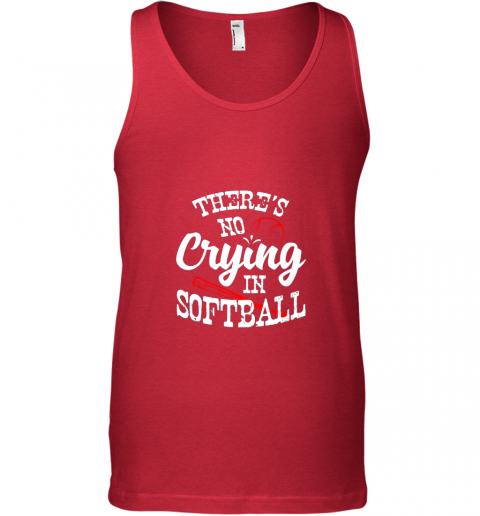 bnll theres no crying in softball game sports baseball lover unisex tank 17 front red