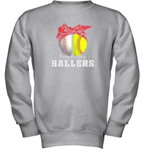 xl9s busy raising ballers softball baseball shirt baseball mom youth sweatshirt 47 front sport grey