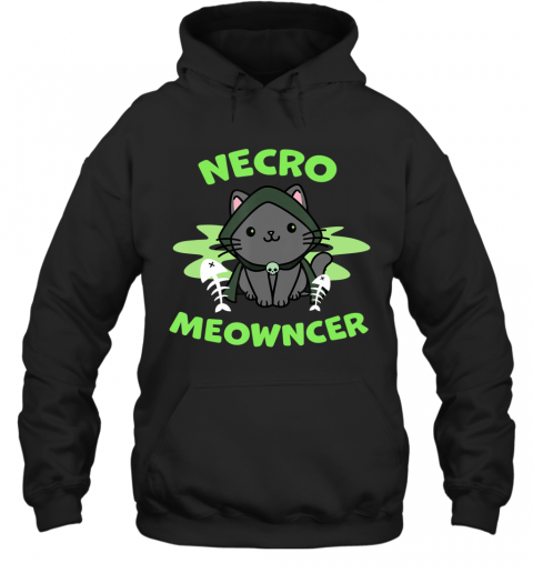 Necromeowncer  Necromancer Cat Tabletop RPG Halloween Hoodie