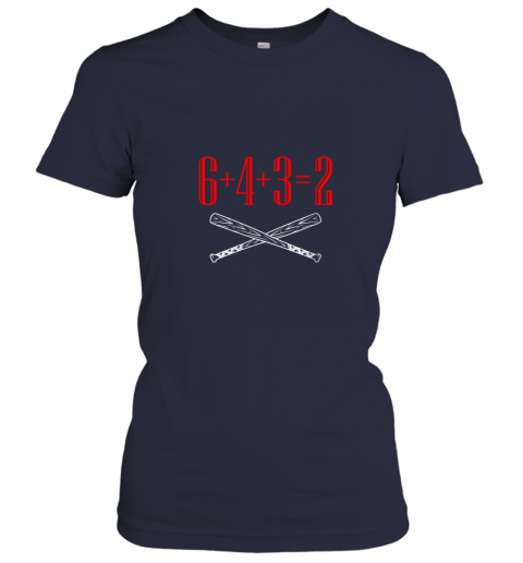 qthp funny baseball math 6 plus 4 plus 3 equals 2 double play ladies t shirt 20 front navy