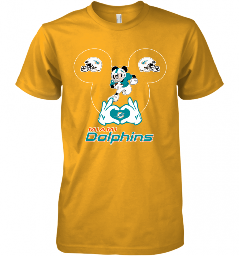 gqrj i love the dolphins mickey mouse miami dolphins premium guys tee 5 front gold