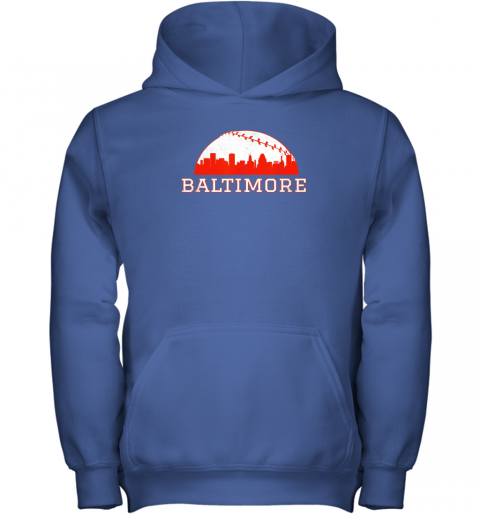 urni vintage downtown baltimore md baseball skyline youth hoodie 43 front royal