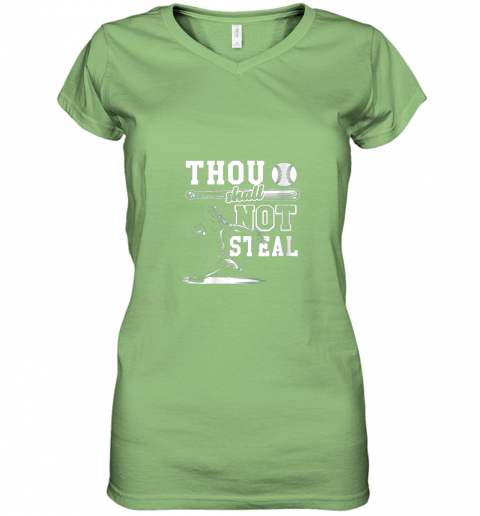 gx5y funny baseball thou shall not steal baseball player women v neck t shirt 39 front lime
