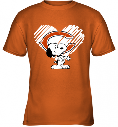 o9kt i love chicago bears snoopy in my heart nfl youth t shirt 26 front safety orange
