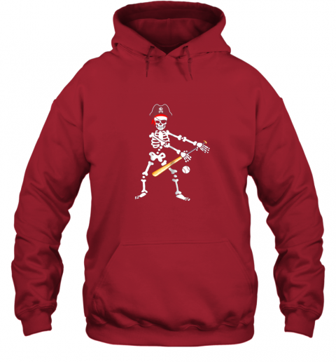 fzo6 skeleton pirate floss dance with baseball shirt halloween hoodie 23 front red