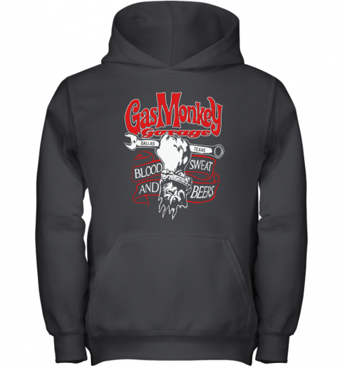 Gas Monkey Garage Dallas Texas Blood Sweat And Beers Youth Hoodie