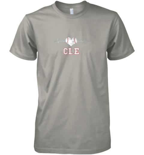 icno cleveland baseball shirt cleveland ohio heart beat cle premium guys tee 5 front light grey