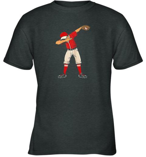 dowk dabbing baseball catcher gift shirt kids men boys bzr youth t shirt 26 front dark heather
