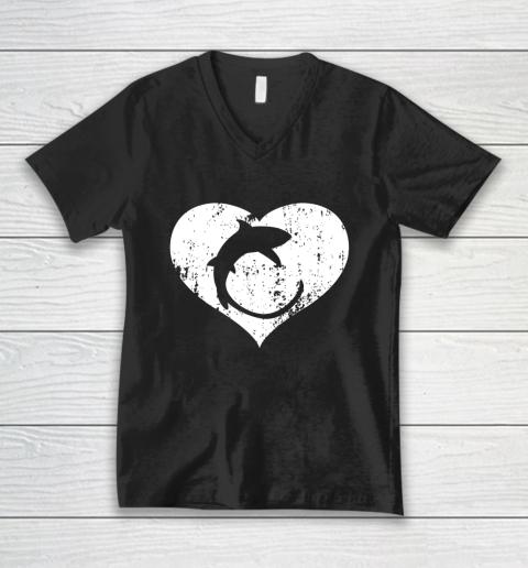 I Love Sharks Gifts Thresher Shark Heart Valentine Gift V-Neck T-Shirt