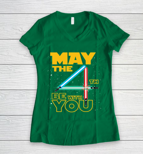 The 4th of May Be With You Galaxy Lightsaber Star Wars Women's V-Neck T-Shirt 3