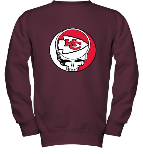 lmdw nfl team kansai city chiefs x grateful dead youth sweatshirt 47 front maroon