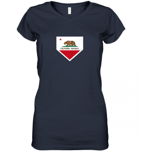 oyo0 vintage baseball home plate with california state flag women v neck t shirt 39 front navy