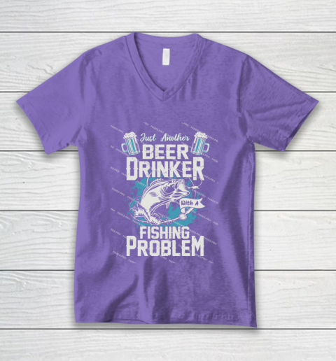 Beer Lover Funny Shirt Fishing ANd Beer V-Neck T-Shirt 8