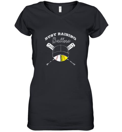 Busy Raising Ballers Softball Baseball Mom Funny Gift Women's V-Neck T-Shirt